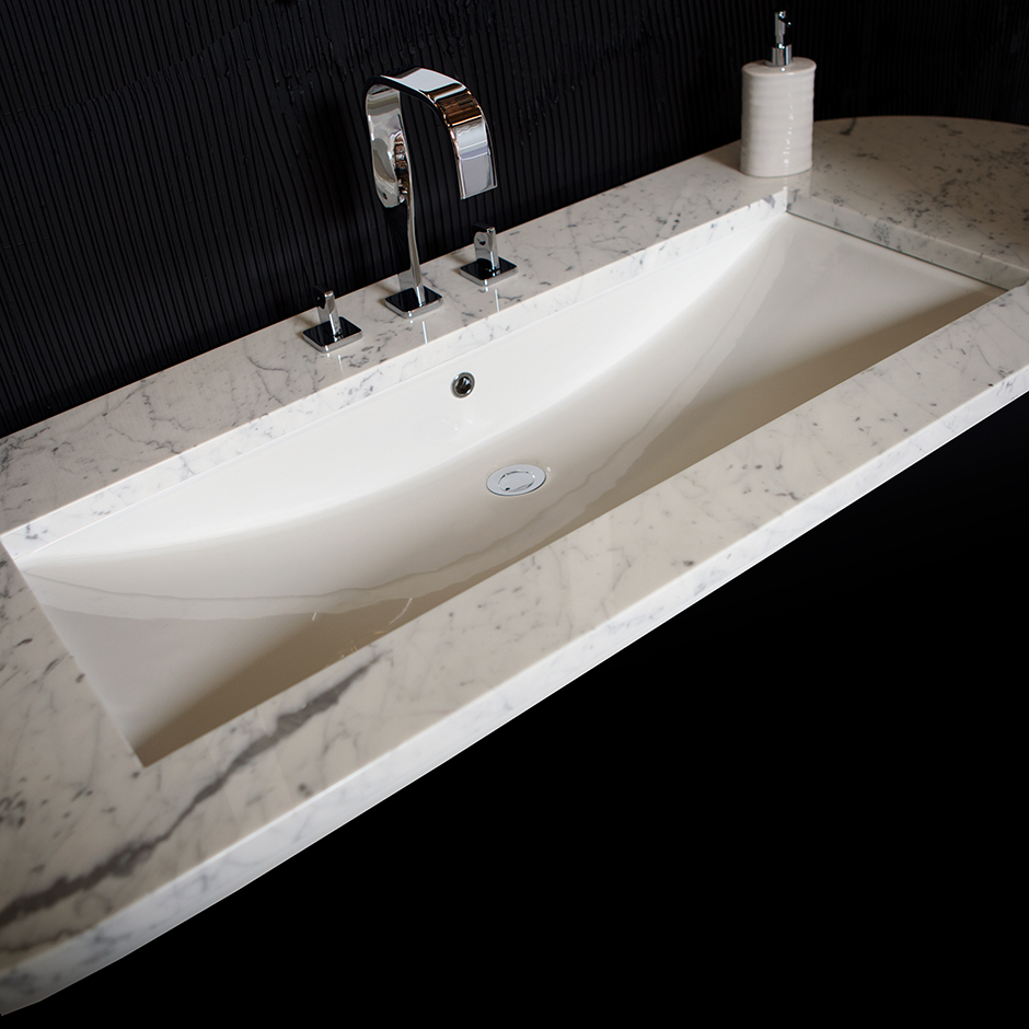 Undermount Trough Sink : LACAVA - 4251UN Piazza Washbasin in Undermounted Washbasins