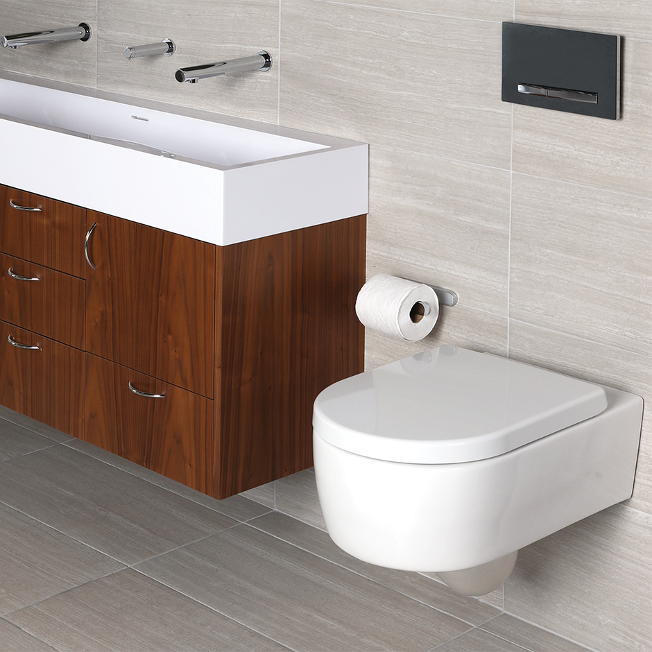 The wall-hung toilets are defined by clean lines and in-wall flushing  system, which saves space ...